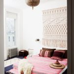 Macrame Wall Decor As The Headboard Colorful Bedding Treatment Oversized Moroccan Pendant