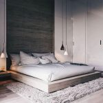 Minimalist Bedroom Design Platform Wood Bed Frame White Bedding Treatment White Walls With Huge Wood Panel For The Accent Ceiling Lamps In White And Black Wooly Area Rug In White