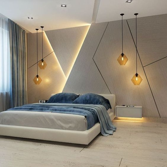 minimalist bedroom idea white bed frame with headboard white bed linen blue duvet cover and pillows hidden lamps on wall delightful pendants