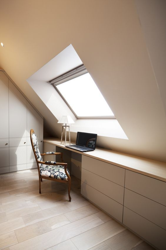 minimalist workspace full length working desk with hidden storage solution vintage chair skylight