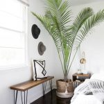 Modern Bedroom Idea Modern Bench With Wood Top And Hairpin Legs Potted Houseplant Dark Wood Floors