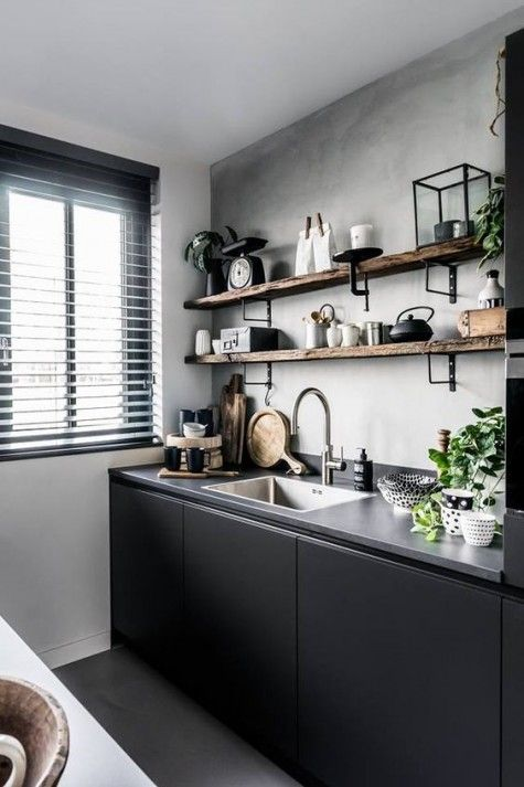 modern industrial kitchen design industrial wooden shelves matte black kitchen cabinets concrete backsplash