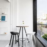 Modern Minimalist Balcony Modern Stools In Black And White Movable Coffee Table