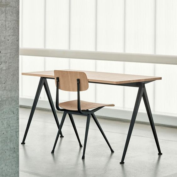 modern office furniture with wood surface and black iron frame