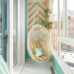 Modern Wall Decal White Hanging Chair With Cream Cushion