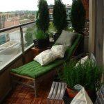 Reclining Chair With Green Cushion Mini Garden On Balcony