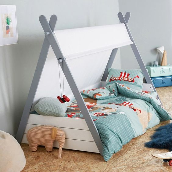 siffory teepee bed frame with white cover blue bedding treatment blue shag rug