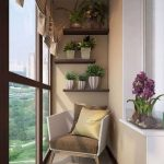 Small Apartment Balcony Midcentury Modern Chair With Throw Pillows Wood Shelves For Greenery