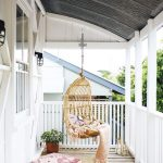 Small Porch With Rattan Swing Flat Woven Runner Floor Pillow In Bohemian Style