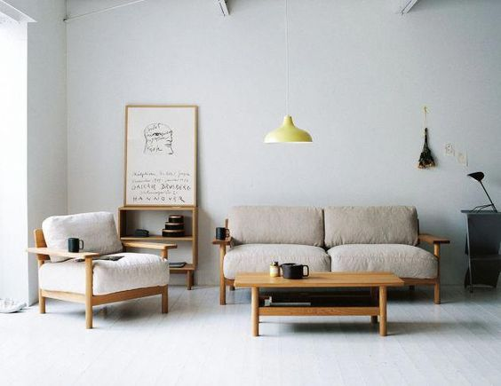 superlight tone living room modern sofas with wood frame modern wood coffee table pendant with lemon yellow lampshade