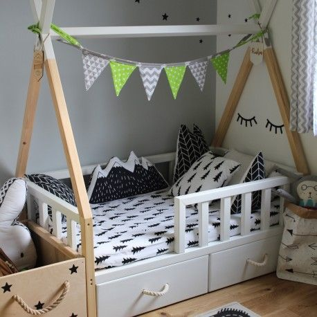 teepee bed design with railings and underbed drawers