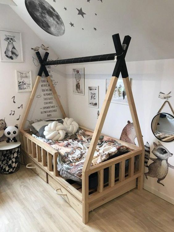 teepee bed frame with black painted top and railing addition