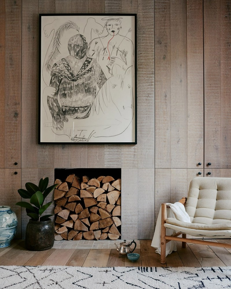 tufted cushion lounge chair with wood frame recessed shelf for timbers chic vintage area rug in white wood plank walls