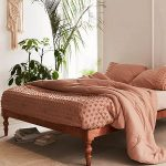 Tufted Embroidery Duvet Cover In Romantic Scheme Ulra Soft Area Rug With Fringed Trim Decoration Some Potted Houseplants Macrame Wall Decor