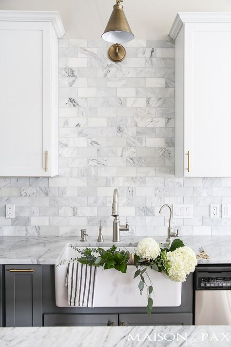 two toned subway tile installation