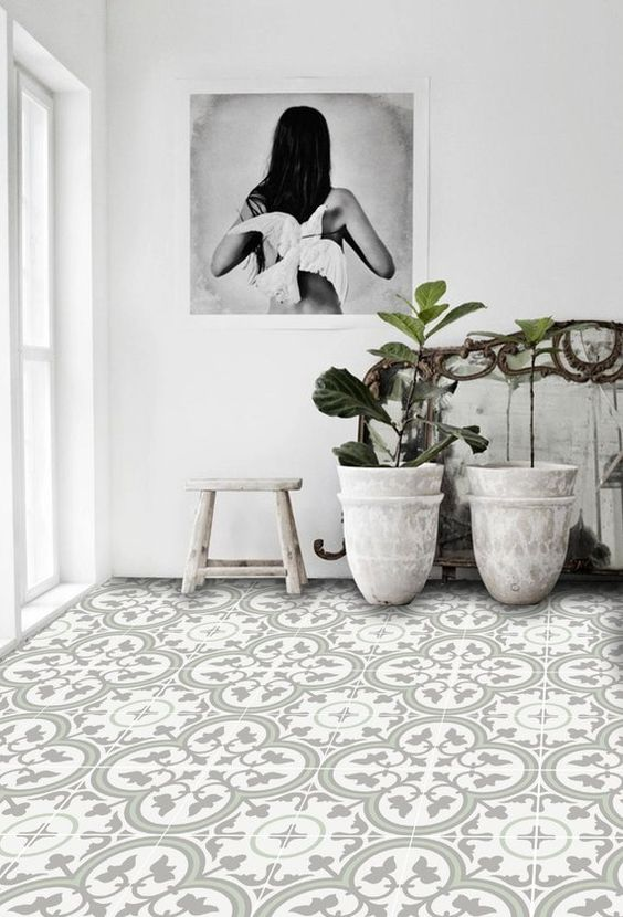 vinyl tile flooring with floral sticker whitewashed planters whitewashed bench