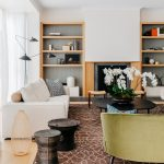 White Wood Panelling Behind The Shelving Units Recessed Wood Shelving Solutions Modern White Sofa Modern Black Coffee Table Modern Brown Area Rug With White Accents N