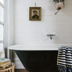 White Wood Wall Panelling Claw Foot Bathtub With Black Finish Dark Wood Plank Floors