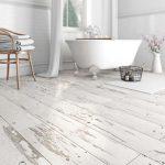 Whitewashed Wood Flooring For Bathroom