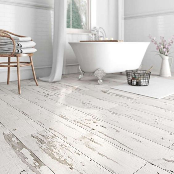 whitewashed wood flooring for bathroom