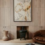 Wood Plank Walls With Concealed Storage Solutions Fireplace Low Profile Leather Armchair Textured But Smooth Area Rug
