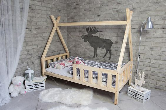 wood tipi tent bed frame with railing system white shag mat brick like wallpaper in gray modern stainless steel floor lamp