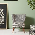 Anthropologie's Chair With Mud Cloth Accented With Bold Colored Patterns And Angled Wood Legs