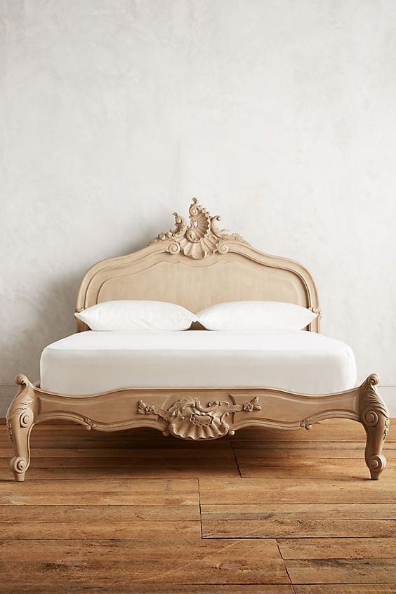 Menara bed frame with curve details on headboard and footboard
