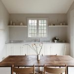 Scandinavian Style Kitchen With White Kitchen Countertop And Cabinets Open Shelves In White Wooden Dining Furniture Set