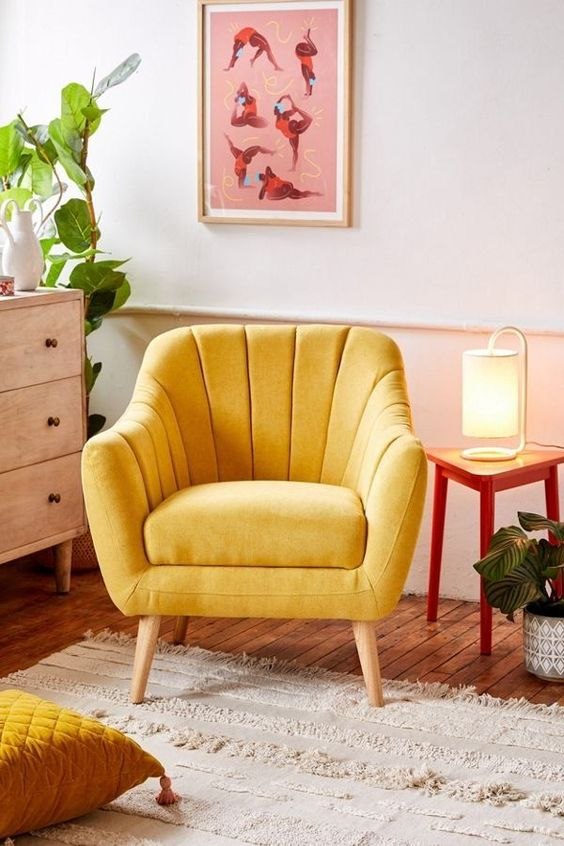 accent chair by Urban Outfitters in mustard