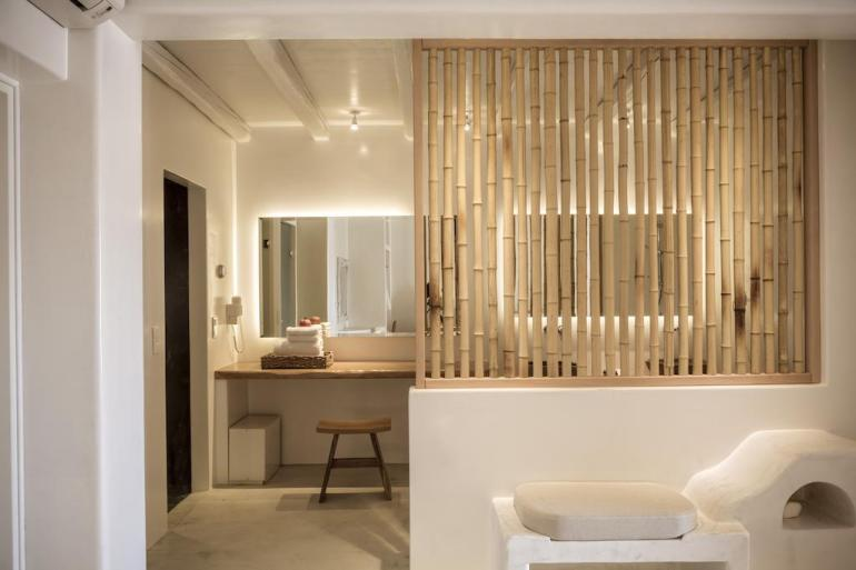 bamboo paneling as room partition