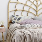 Bed Frame With Artistic Rattan Headboard