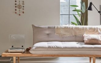 convertible sleeper sofa in white with extended side table