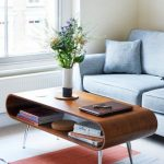 Curved Plywood Coffee Table With Angled Chrome Legs In Retro Style