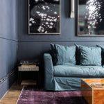 Deep Blue Sofa Slipcover Deep Purple Area Rug Ultra Modern Coffee Table Artistic Wall Decor With Frame