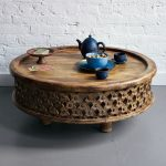 Low Profile Moroccan Coffee Table Made Of Organic Wood With Carved Wood Frame
