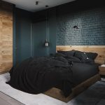 Matte Dark Gray Brick Wall Featuring Wood Panel Wooden Bed Frame With Headboard High Intense Bedspread And Pillows White Area Rug Light Gray Tile Floors