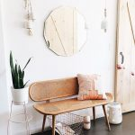 Midcentury Modern Bench Seat With Angled Legs And Rattan Frame