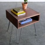 Midcentury Modern Side Table With Box Like Top Storage Addition And Metal Hairpin Legs