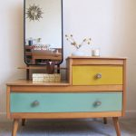 Midcentury Modern Vanity With Yellow And Blue Color Accents