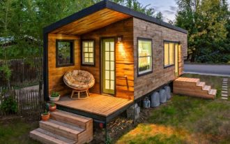 modern cabin like tiny house with underneath mini garden outdoor Papasan chair