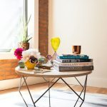 Modern Industrial Coffee Table Wood Round Top And Tiny Metal Base In Black