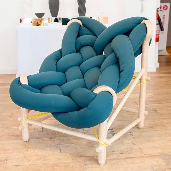 oversized woven lounge chair in blue