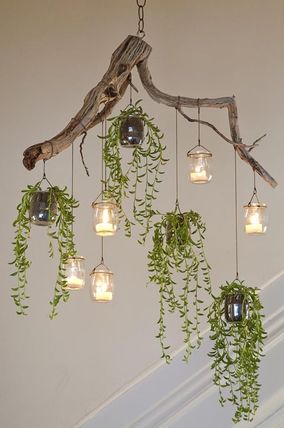 DIY greenery chandelier made from succulants tree's branch and Mason jar light fixtures