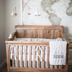 Baby Explorer Theme Nursery Room World Map Wall Decal Wooden Crib With White Linen