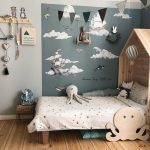 Cloudly Kids' Room Design Light Wood Bed Frame Wih House Shaped Headboard Light Gray Wall Darker Gray Wall With Cloud Wall Arts