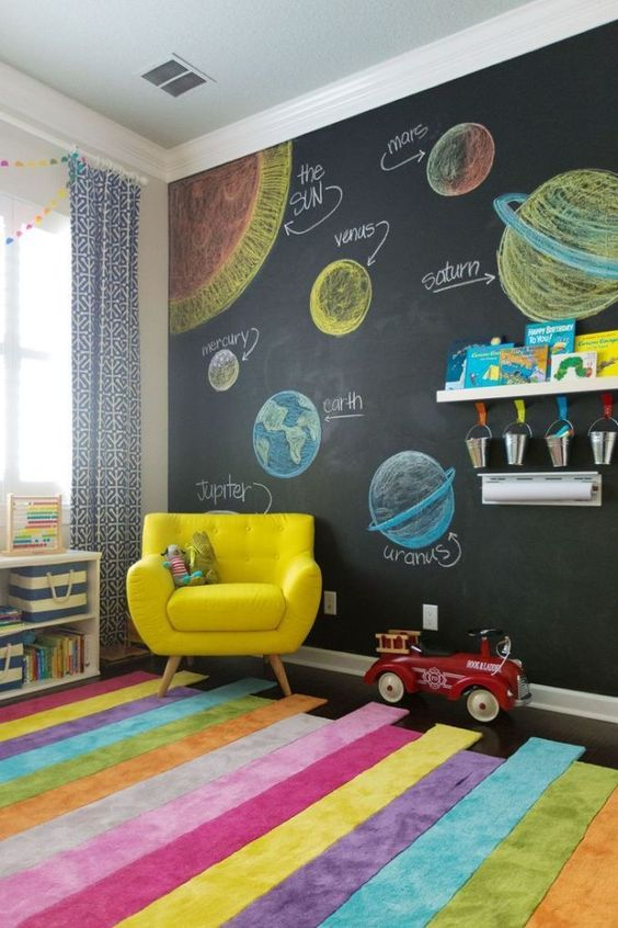 colorful kids' room design rainbow area rug poppy yellow chair chalkboard wall with solar system wall arts