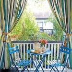 Colorful Outdoor Cutains Vividly Blue Outdoor Furniture Set Dark Finish Wood Plank Floors White Outdoor Railing System