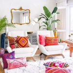 Colorful Throw Pillows With Multipattern Accents Chairs In White Area Rug In White With Modern Patterns