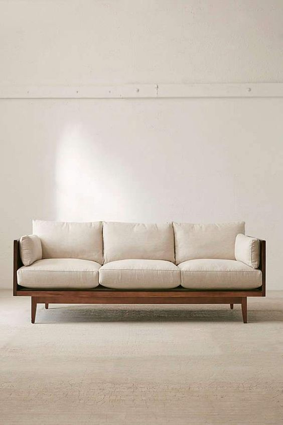 compact sofa with solid wood frame and comfy upholstery in white